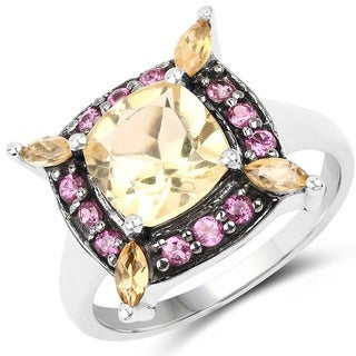 Malaika 2.76 Carat Genuine Citrine and Rhodolite .925 Sterling Silver Ring