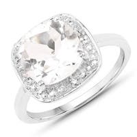 Malaika 2.52 Carat Genuine Crystal Quartz and White Topaz .925 Sterling Silver Ring
