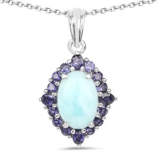 Malaika 0.925 Sterling Silver 7.52-carat Genuine Larimar and Iolite Pendant