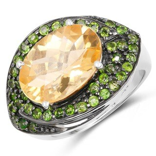 Malaika 6.11 Carat Genuine Citrine and Chrome Diopside .925 Sterling Silver Ring
