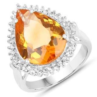 Malaika 8.56 Carat Genuine Citrine and White Topaz .925 Sterling Silver Ring