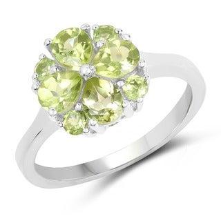 Malaika 0.925 Sterling Silver 1.48-carat Genuine Peridot Ring