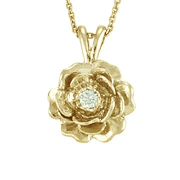 necklace pendant rose yellow gold solid flower