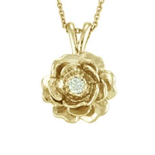 "Antwerp's 14k Gold ""Keepsake Rose"" .05ct Diamond Necklace - White"