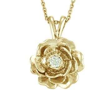 "Antwerp's 14k Gold ""Keepsake Rose"" .05ct Diamond Necklace - White"