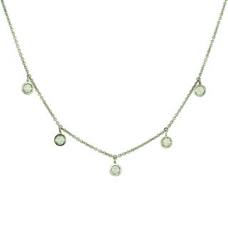 "14k Gold ""Drop by the Yard"" 7 Round Diamond Necklace"