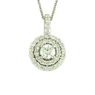 Antwerp's 14k Gold Double Halo .62 TDW Diamond Necklace