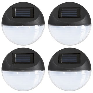 Pure Garden Black Round Solar LED Lights (Set of 4)