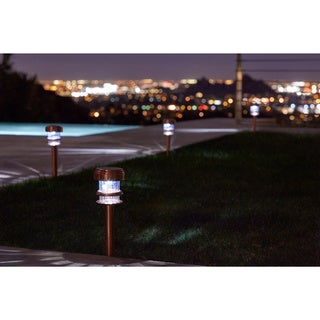 Pure Garden Copper Solar Powered LED Path Lights (Set of 4)
