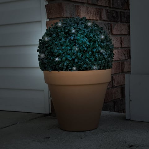 Solar Powered LED Artificial Topiary Ball  Decorative Prelit Faux Potted Boxwood with Rechargeable Battery by Pure Garden