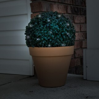 Solar Powered LED Artificial Topiary Ball – Decorative Prelit Faux Potted Boxwood with Rechargeable Battery by Pure Garden