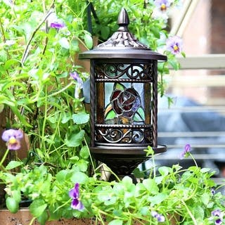 River of Goods Multicolor Art Glass, Metal Tiffany Style Outdoor Lantern|https://ak1.ostkcdn.com/images/products/12084832/P18950190.jpg?impolicy=medium