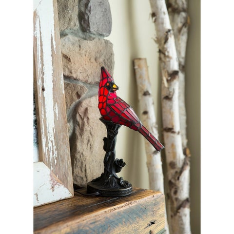 """River of Goods Stained Glass 13-inch Cardinal Accent Lamp - 8""""L x 4.5""""W x 13.5""""H"""