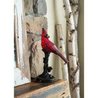"River of Goods Stained Glass 13-inch Cardinal Accent Lamp - 8""L x 4.5""W x 13.5""H"