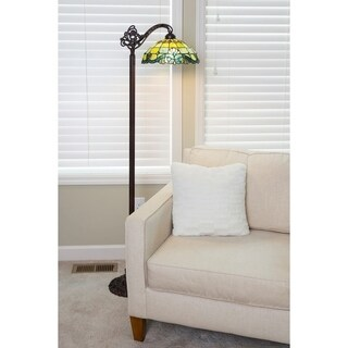 River of Goods Vivaldi Blue and Green Tiffany-Style Side-Arm Floor Lamp