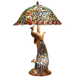 Swirling Peacock 26.5-inch Double Lit Table Lamp