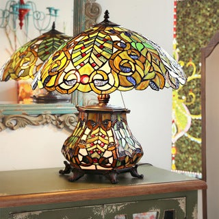 Tiffany Style Peacock Lantern Table Lamp Free Shipping