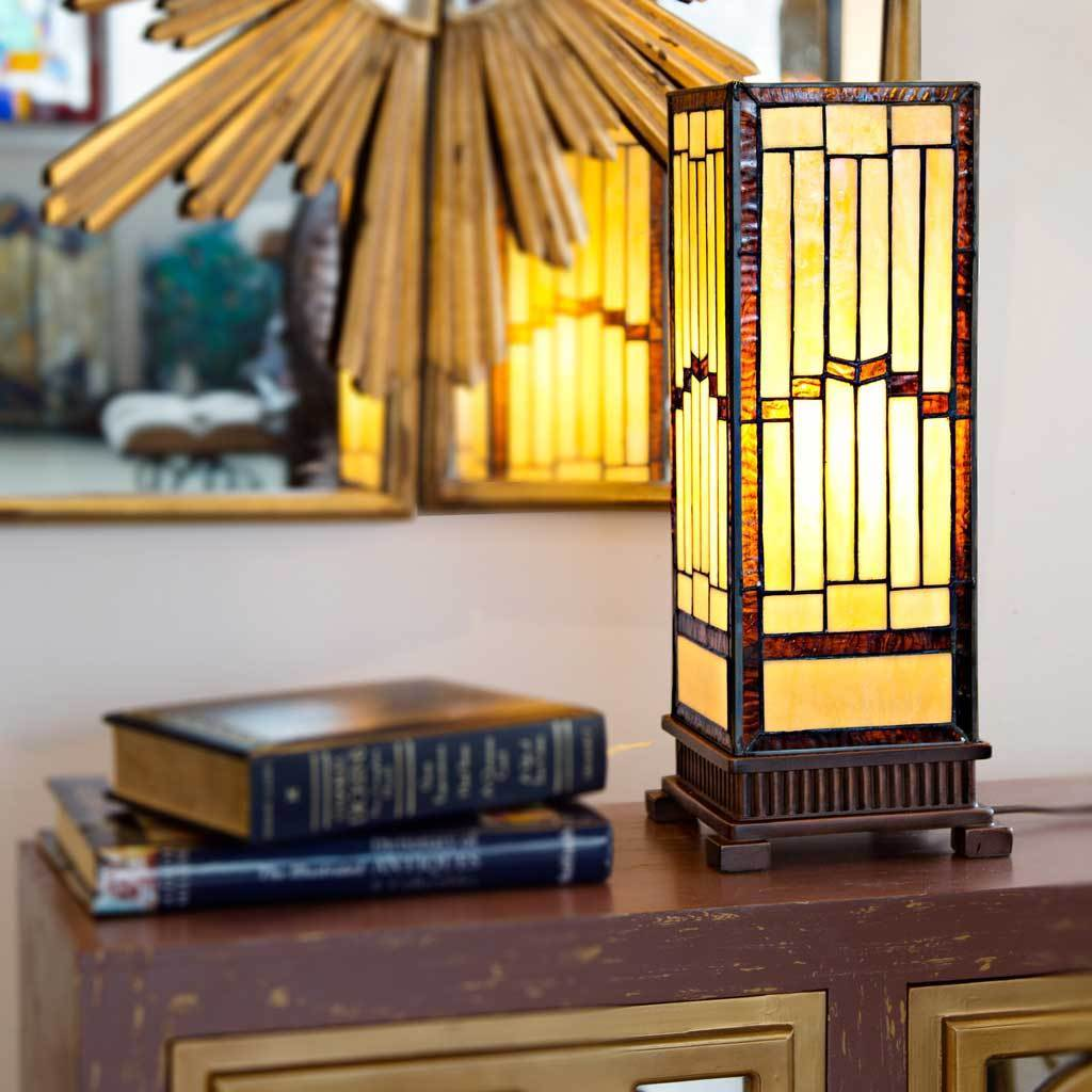 Carbon Loft Turing Mission-style Stained-glass Rustic 17-inch Hurricane Accent Lamp