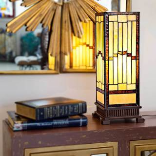 River of Goods Amber/Beige/Brown/Yellow Tan Stained Glass and Copper Mission-style Rustic 17-inch Hurricane Accent Lamp