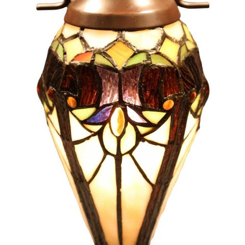 Gracewood Hollow Harbi Brown and Cream 2-light Art Glass Table Lamp