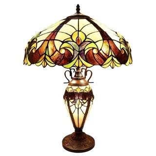 River of Goods Brown/Cream 2-light Art Glass Table Lamp