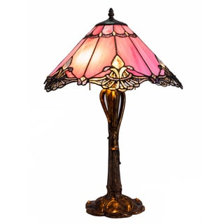 River of Goods Bronze Resin Stained Glass Crystal Lace 24.5-inch Table Lamp