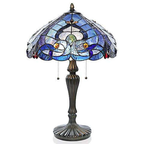 """Gracewood Hollow Harbi Stained Glass Multicolored Seashore Table Lamp (24.25 in.) - 16""""L x 16""""W x 24.25""""H"""