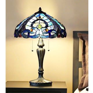 Gracewood Hollow Harbi Stained Glass Tiffany-style Multicolored Glass/Resin Sea Shore Table Lamp