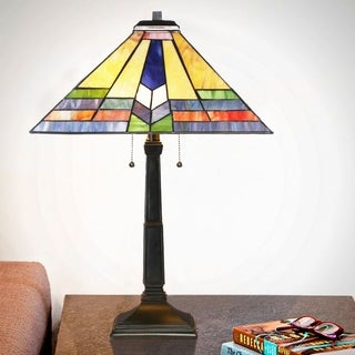 River of Goods Southwestern Sunrise Bronze Resin Stained Glass 23.5-inch Mission-style Table Lamp