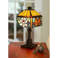 Rose Butterfly Stained Glass 11.75-inch Accent Lamp