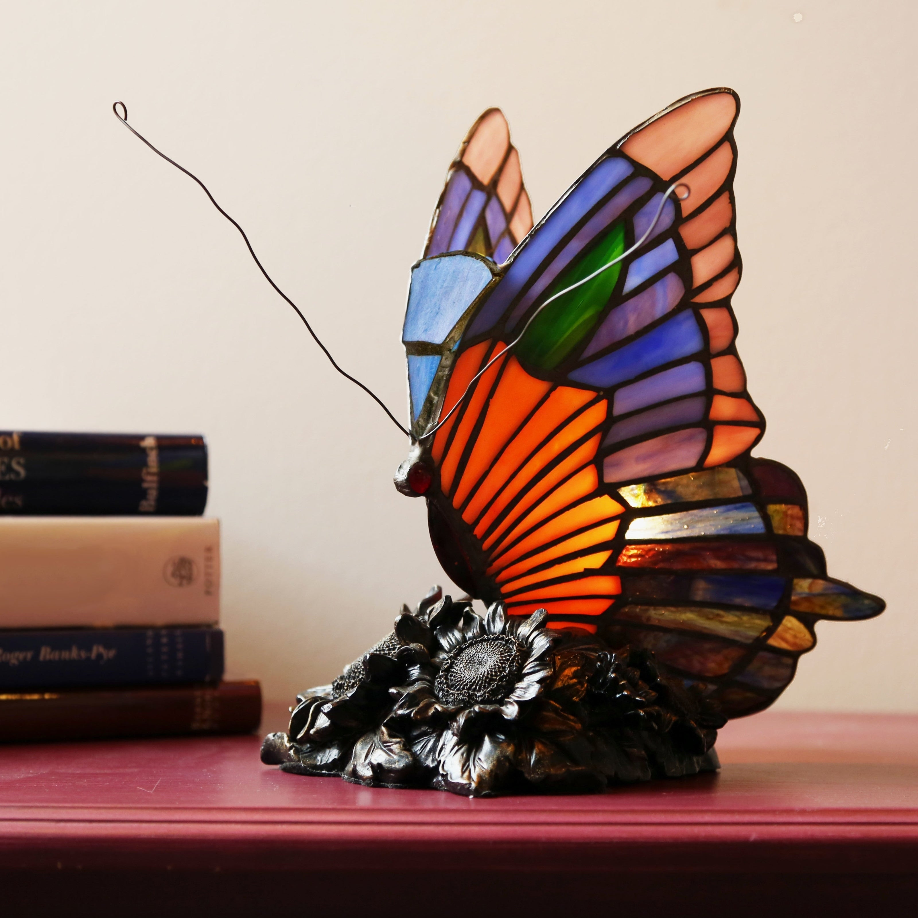 Laurel Creek Morris Butterfly Stained Glass Accent Lamp