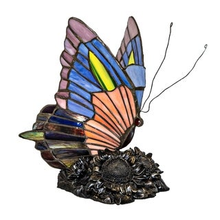 River of Goods Butterfly Stained Glass Accent Lamp