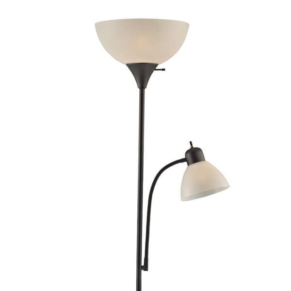 Light Accents 150 Watt Black Finish Torchiere With White