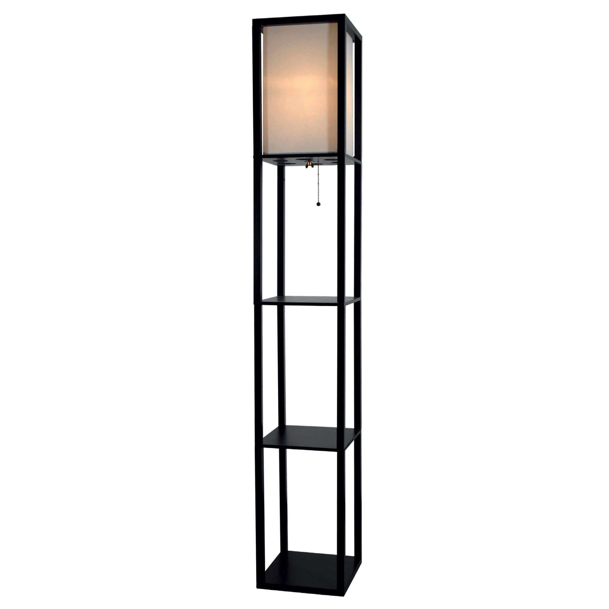 Light Accents Black Wood 3-shelf Floor Lamp With Beige Li...