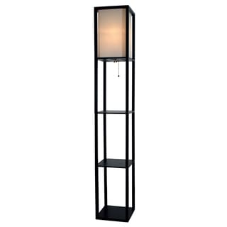 Light Accents Black Wood 3-shelf Floor Lamp With Beige Linen Shade