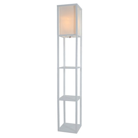 Light Accents 3-Shelf Linen Shade Wooden Floor Lamp