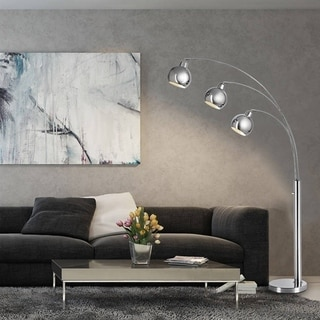 Catalina Chrome Metal 79-inch 3-Light Arc Floor Lamp with 3-Dome Shades and Included Bulb