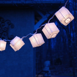 Electric String Lights with Square 3-inch White Nylon Lanterns
