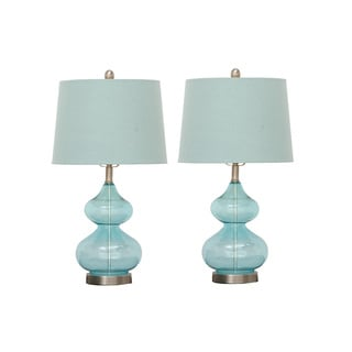 Urban Designs Fiona Teal Glass Table Lamp (Set of 2)