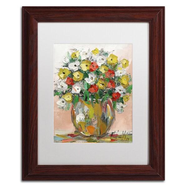 Hai Odelia 'Spring Flowers in a Vase 8' Matted Framed Art