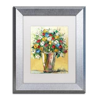 Hai Odelia 'Spring Flowers in a Vase 9' Matted Framed Art