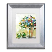 Hai Odelia 'Spring Flowers in a Vase 5' Matted Framed Art