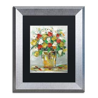 Hai Odelia 'Spring Flowers in a Vase 11' Matted Framed Art