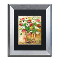 Hai Odelia 'Spring Flowers in a Vase 7' Matted Framed Art