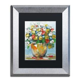 Hai Odelia 'Spring Flowers in a Vase 3' Matted Framed Art