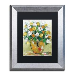 Hai Odelia 'Spring Flowers in a Vase 4' Matted Framed Art