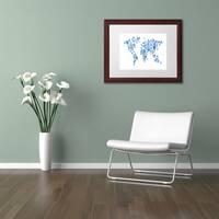 Michael Tompsett 'Robot World Map Blue' Matted Framed Art