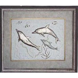 Cast Paper 'Dolphins of the Deep II' 18x22 Indoor or Outdoor Option Available
