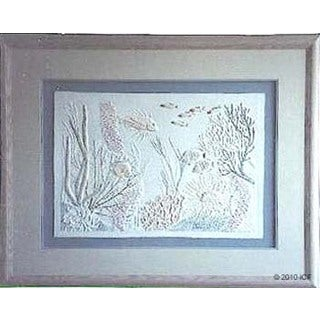 Cast Paper 'Coral Garden' 36x44 Indoor or Outdoor Option Available