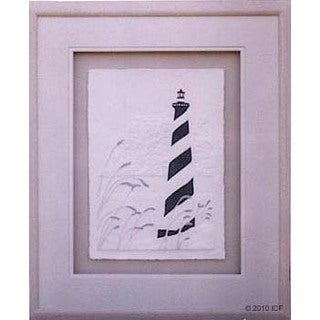 Cast Paper 'Lighthouse/Sea Oats' 18x22 Indoor or Outdoor Option Available
